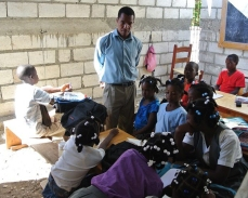 Classroom instruction while the New Life School building was being completed.