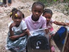 Sponsorship children with new backpacks